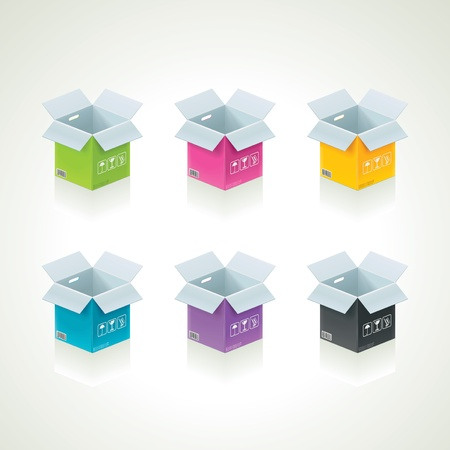ship with gift: Vector colorful boxes Illustration