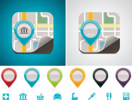 buen servicio: Mapa personalizable icono de ubicaci�n Vectores