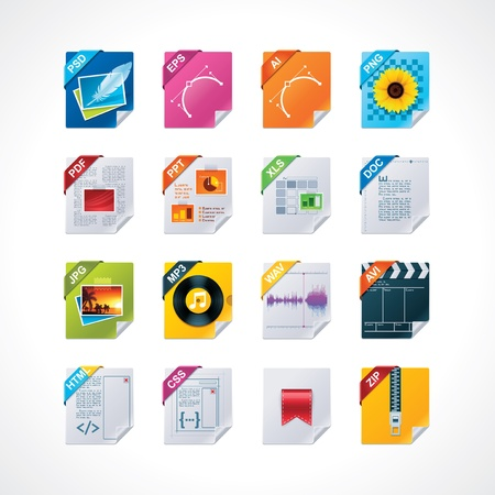 avi: File labels icon set