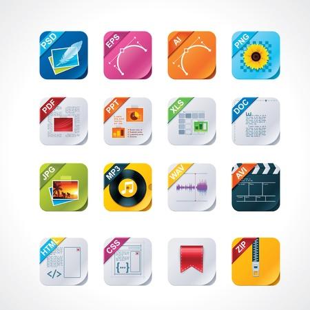 css: Piazza file icon set etichette