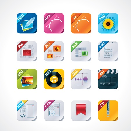 extensions: Vierkante file labels icon set Stock Illustratie