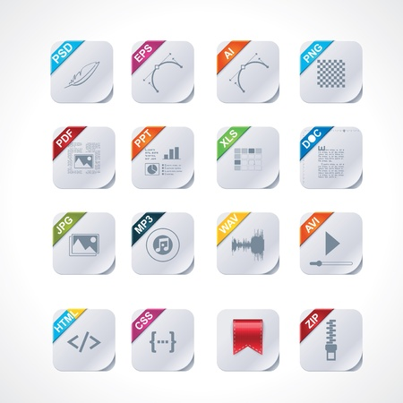 formats: Simple square file labels icon set Illustration