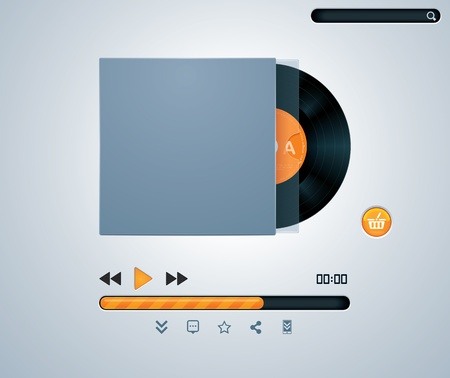 download music: vinyl disk in envelope music player