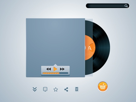 phonograph: vinyl disk in envelope music player