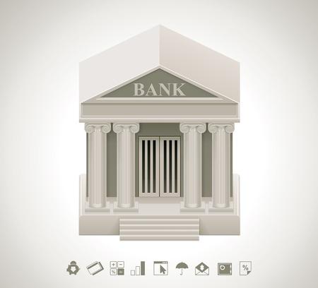 edificio banco: Banco icono Vectores