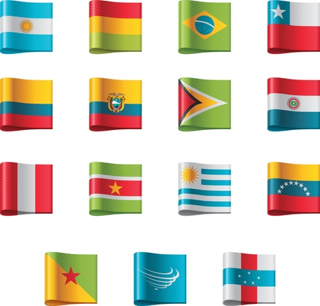 bandera peru: Banderas del vector. Am�rica del Sur, parte 5 Vectores