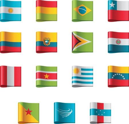 Vecteur drapeaux. Amérique du Sud, partie 5 Vecteurs
