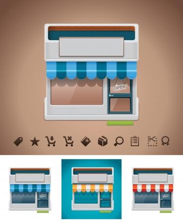 retail shop: Vector icono de tienda con pictogramas relacionados
