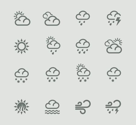 rainy sky: Previsi�n meteorol�gica Vector pictograma conjunto. Parte 1