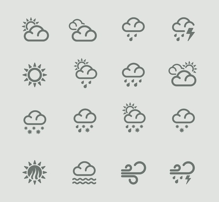 overcast: Vector weather forecast pictogram set. Part 1 Illustration