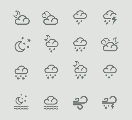 rainy: Vector weather forecast pictogram set. Part 2
