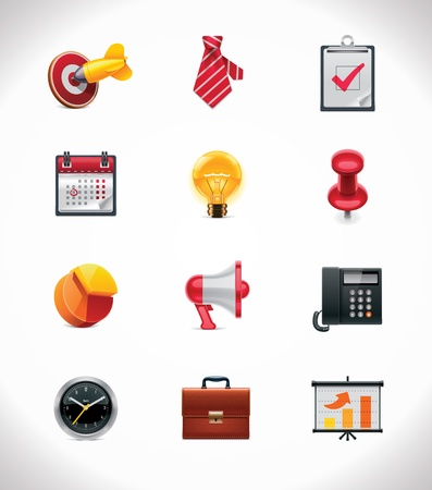 business briefcase: Vector business icon set