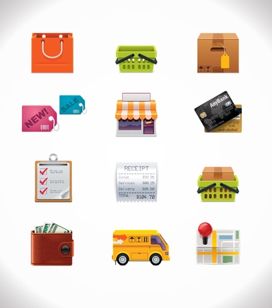 store front: Vector winkelen icon set Stock Illustratie