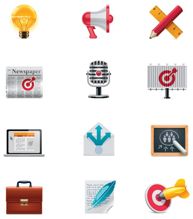 relaciones publicas: Comercialización vector icon set