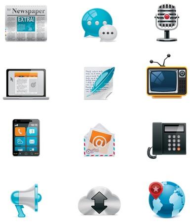 medios de comunicacion: Vector de comunicaci�n y medios de comunicaci�n social conjunto de iconos. Parte 1