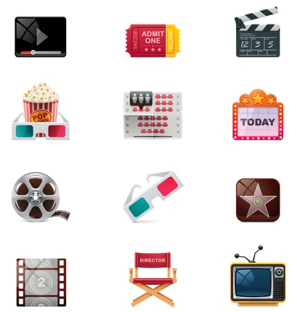 anaglyph: Vector cinema icon set Illustration