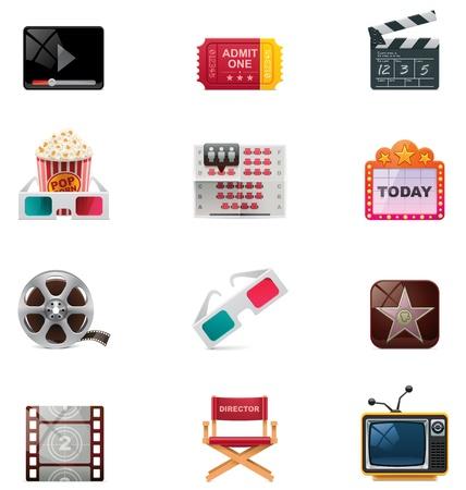movie sign: Vector icono del cine conjunto