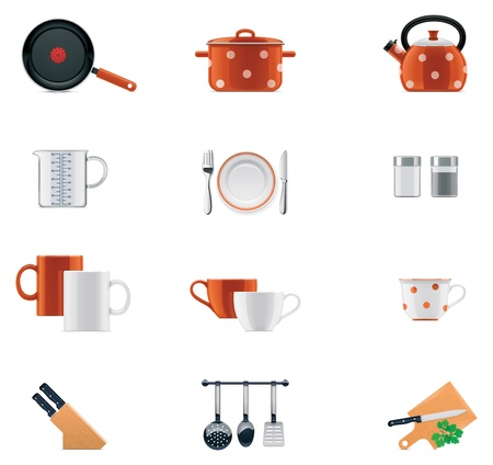 casserole: Kitchenware icon set
