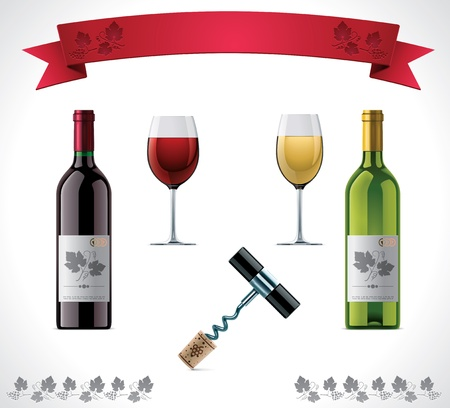 red wine pouring: Wine icon set