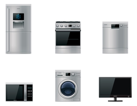 kitchen appliances: Vector major appliances set