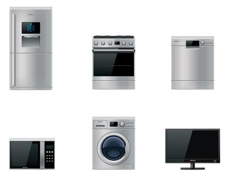gospodarstwo domowe: Wektorowe duże sprzęty ustawione