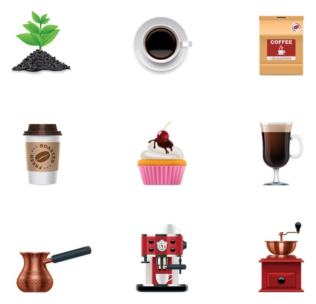 espresso machine: Vector coffee icon set