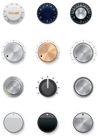 volume knob: Vector knobs set Illustration