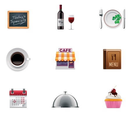 reservations: Vector restaurant icon set