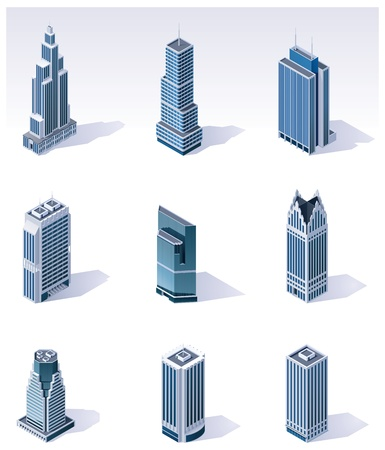 Vector isometric buildings. Skyscrapers Illustration