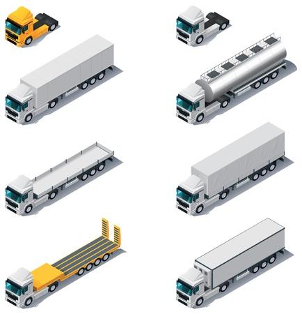 camión cisterna: Camiones de transporte vectoriales isométricos con semi-remolques
