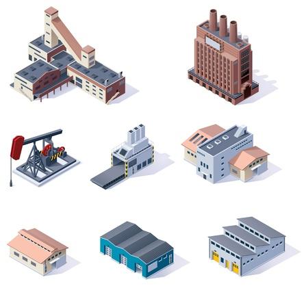 épület: Vector izometrikus épületek Ipari Illusztráció