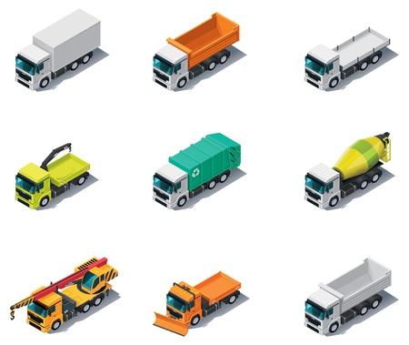 volteo: Vector isométrica de transporte. Camiones