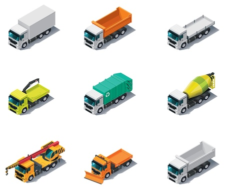 dump truck: Vector isometric transport. Trucks