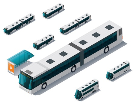 double decker bus: isometric bus set