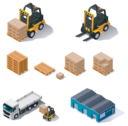 manufacturing:  warehouse equipment icon set Illustration