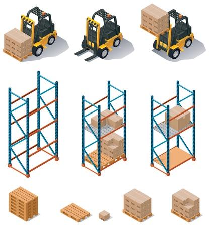 carretillas almacen: almacén de equipos de conjunto de iconos Vectores