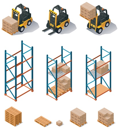 warehouse equipment: warehouse equipment icon set Illustration