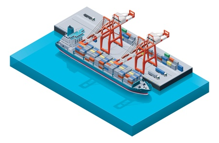 import trade: Vector container ship with cranes  Illustration