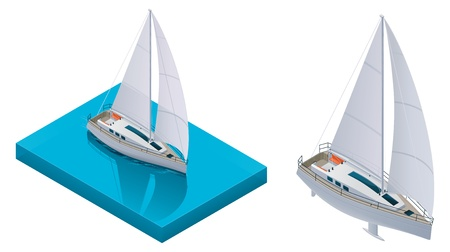 navigating: Vector isometric yacht Illustration
