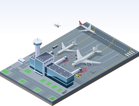 airfield: Vector isometric airport