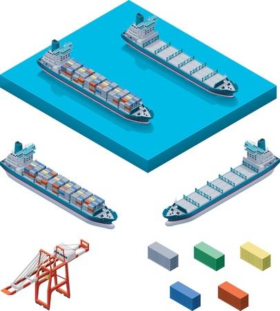 Vector barco de contenedores con grúa