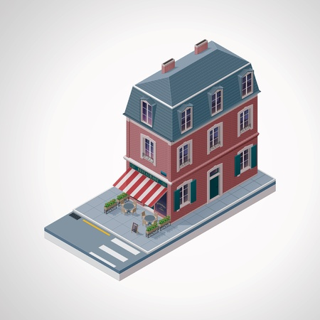 old building facade: isometric cafe