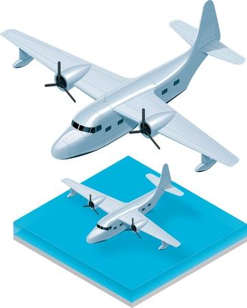 aerial animal: isometric seaplane Illustration