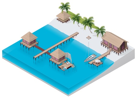 isometric tropical resort Vector