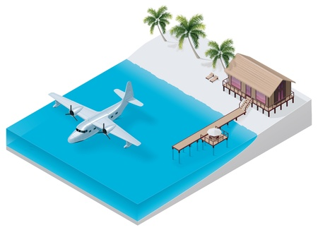 jetty: Vector isometric tropical resort