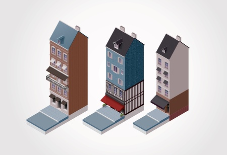 Vector isometric old buildings  Part 1 Vector