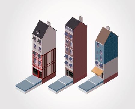 old building facade: Vector isometric old buildings  Part 2 Illustration