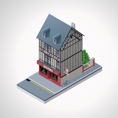 old building facade: Vector isometric French cakes and cookies shop