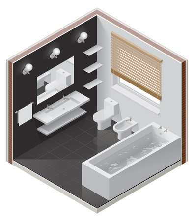 bathroom icon: isometric bathroom icon