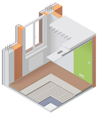 insulation: isometric apartment cutaway icon Illustration